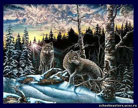 Волки вышивка.